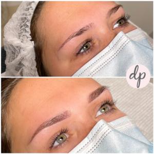 Dermatopigmentatie jonge vrouw ombré powder brows bruin
