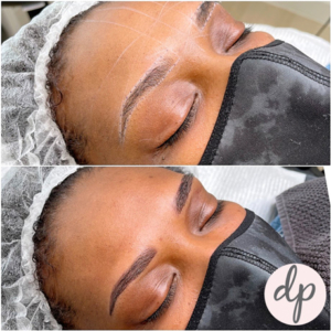 Dermatopigmentatie ombré brows voor en na donkere huid