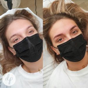 Dermatopigmentatie powderbrows voor en na bruin jonge vrouw